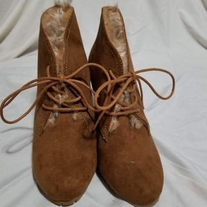 Brown Suede booties size 8.5